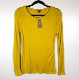 NWT J. CREW yellow gold long sleeve soft top
